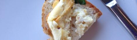 Baked feta cheese on toast
