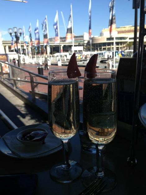 Finished off with champagne by the water
