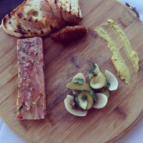 Smoked ham terrine with parsley, mustard, pickles and toast