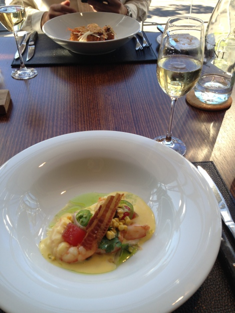 Delicious prawn starter at Black By Ezard