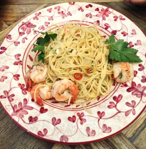 Chilli prawns spaghetti at Criniti's Darling Harbour