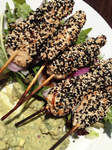 Crispy chicken skewers at Sauce Bar and Grill Coogee