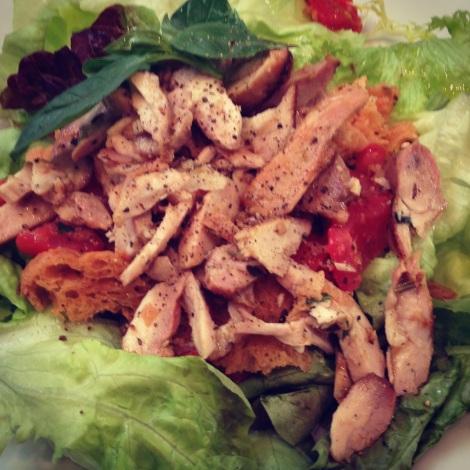 Panzanella e pollo salad at Fourth Village Providore restaurant Mosman