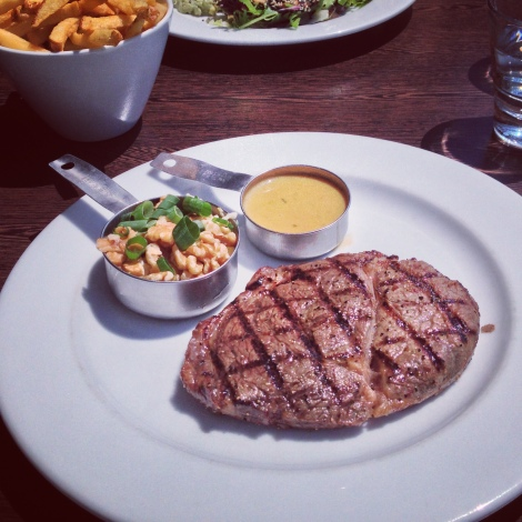 Scotch fillet with creamy peppercorn sauce fries at Sauce Coogee