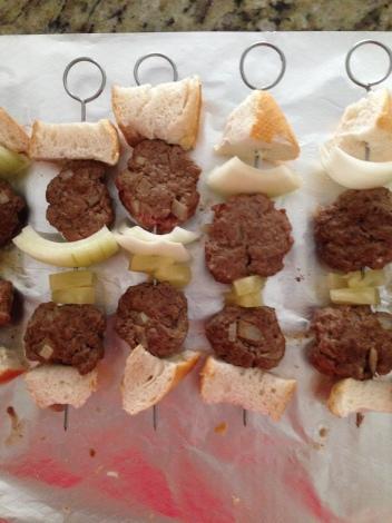 Beef burger skewers