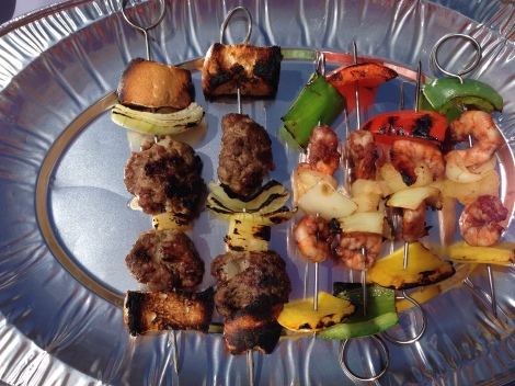 Cooked BBQ skewers