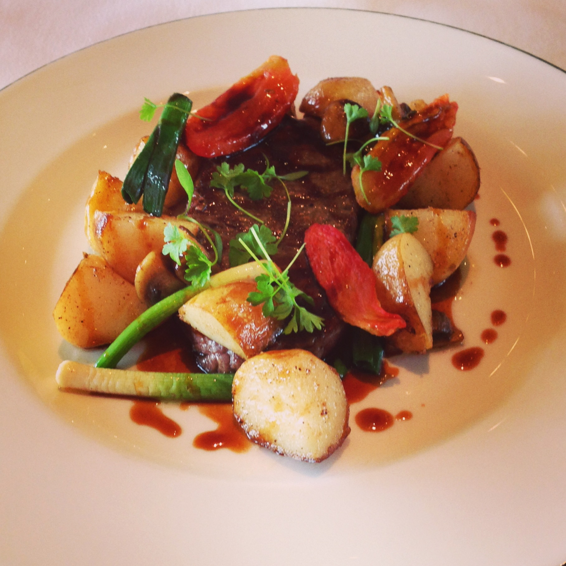 Sirloin, Roasted Potatoes With Mushrooms And Spring Onion At The Dining  Room Park Hyatt Sydney