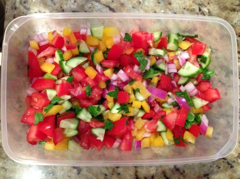 Sliced capsicums for the cous cous