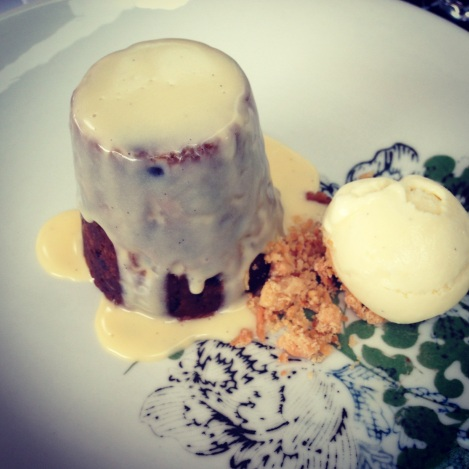 Christmas pudding dessert at Cafe Sydney