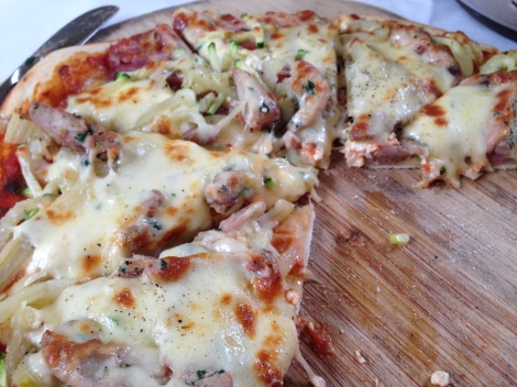 Italian sausage and chicken gourmet pizza at 221 Restaurant The Royal Oak Cessnock