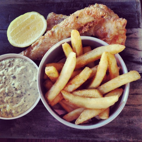 Beer battered fish and chips at The Pantry in Manly