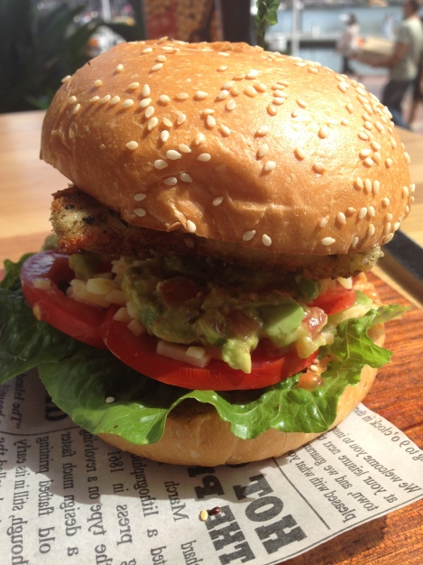 Chicken burger at I'm Angus Steakhouse Sydney