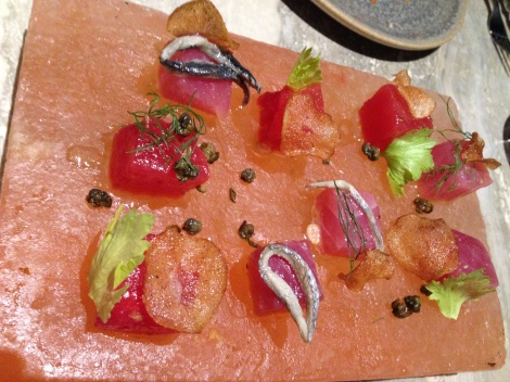 Tuna Crudo starter at Swine and Co Sydney